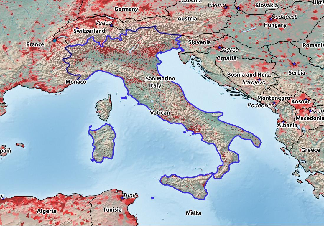 Map of Italy with world location, topography, capital city, and nearby major cities.