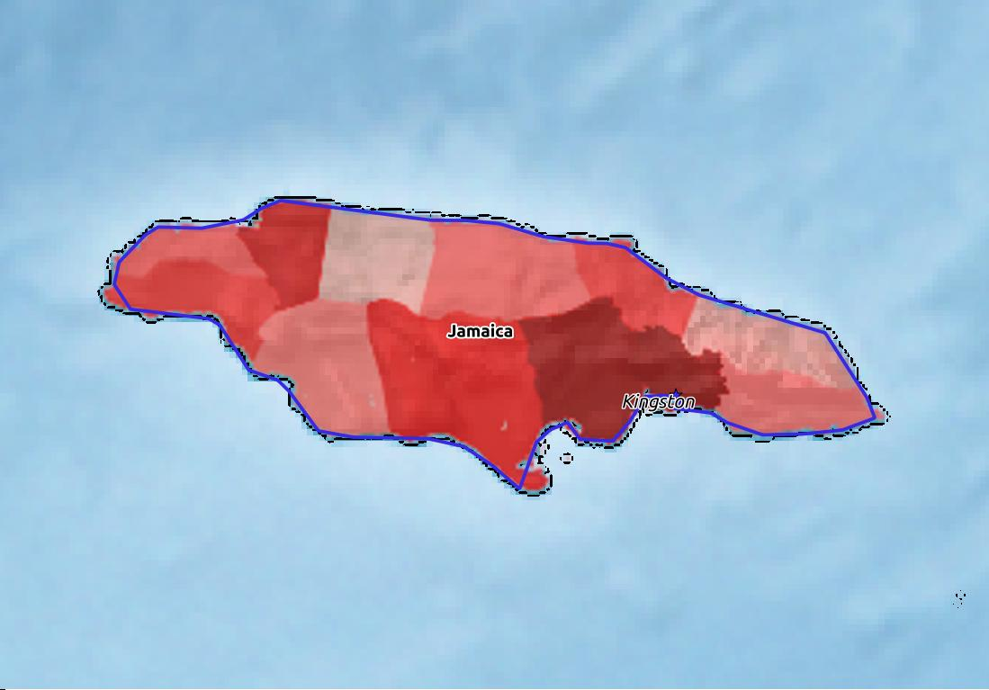 Map of Jamaica with world location, topography, capital city, and nearby major cities.