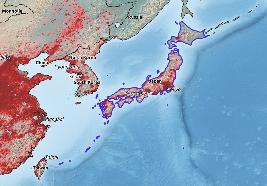 Map of Japan with world location, topography, capital city, and nearby major cities.