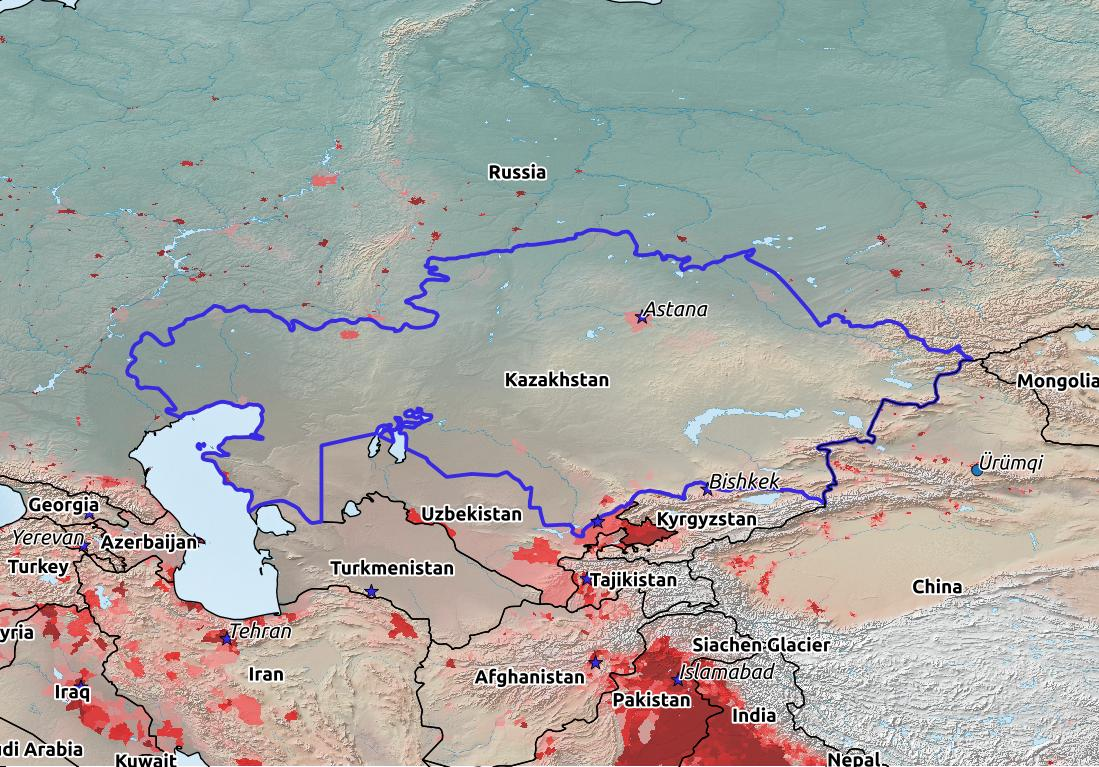 Map of Kazakhstan with world location, topography, capital city, and nearby major cities.