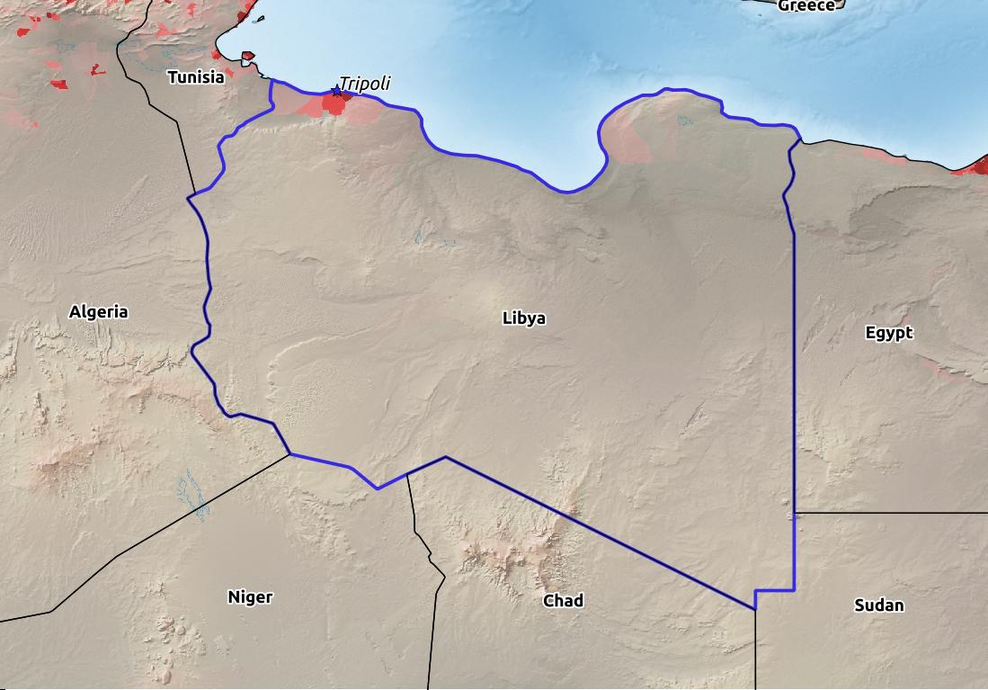 Map of Libya with world location, topography, capital city, and nearby major cities.