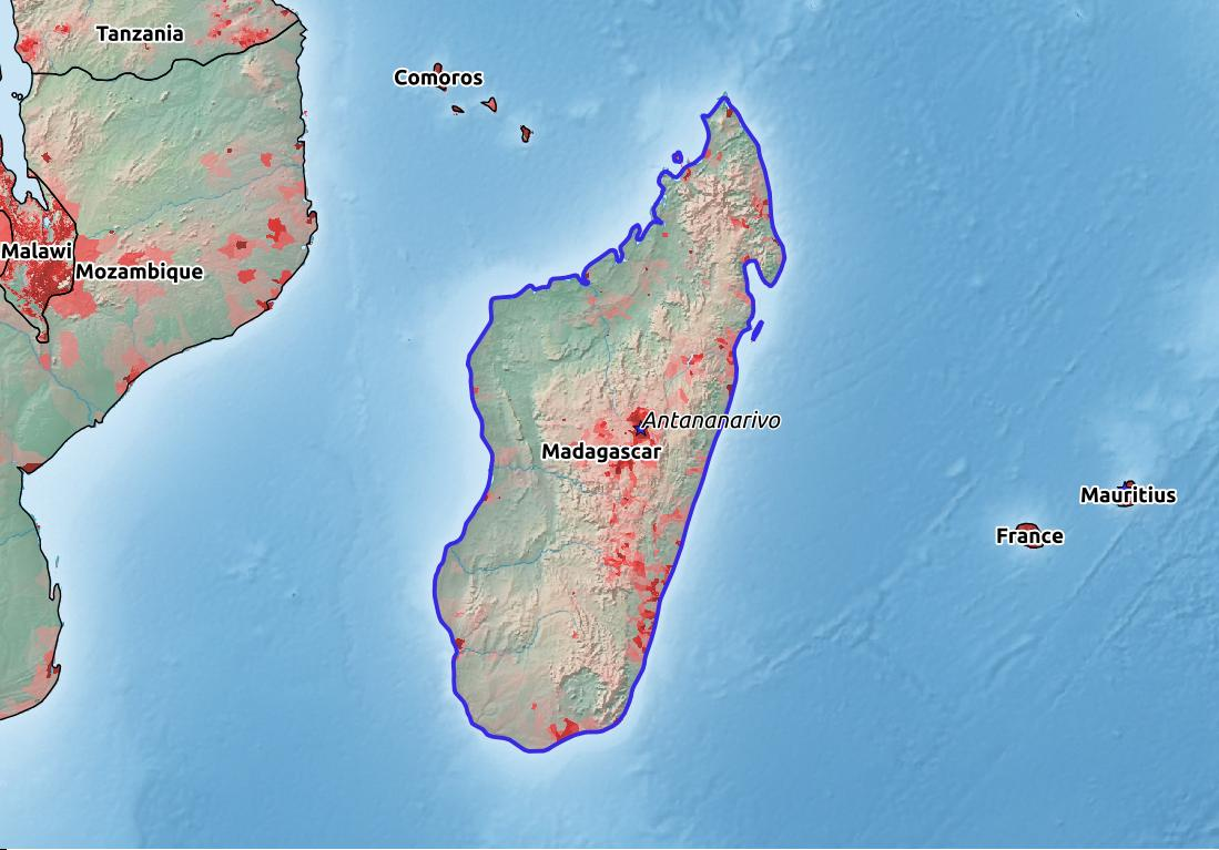 Map of Madagascar with world location, topography, capital city, and nearby major cities.