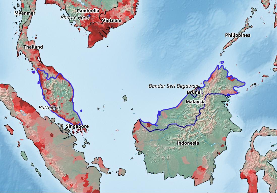 Map of Malaysia with world location, topography, capital city, and nearby major cities.