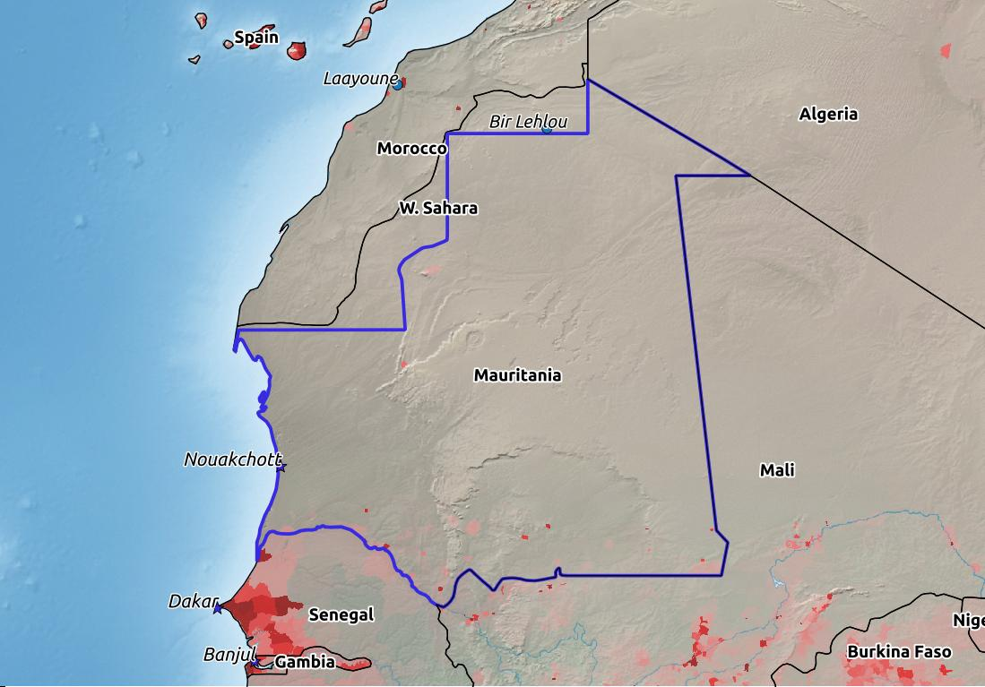 Map of Mauritania with world location, topography, capital city, and nearby major cities.