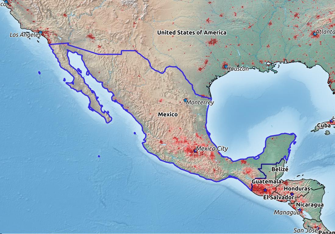 Map of Mexico with world location, topography, capital city, and nearby major cities.