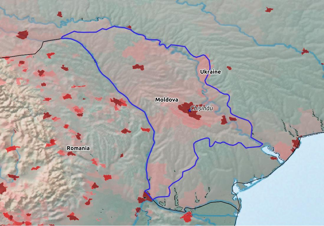 Map of Moldova with world location, topography, capital city, and nearby major cities.