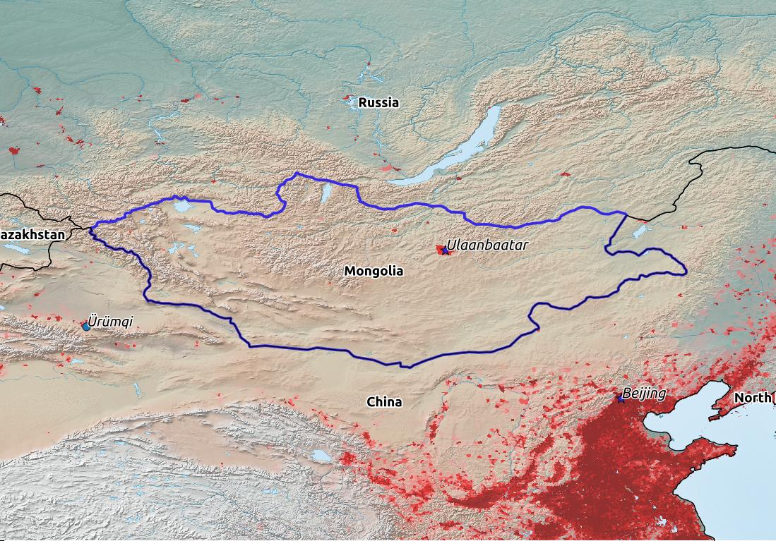Map of Mongolia with world location, topography, capital city, and nearby major cities.