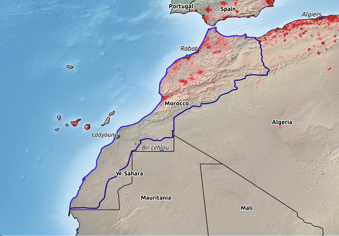 Map of Morocco with world location, topography, capital city, and nearby major cities.