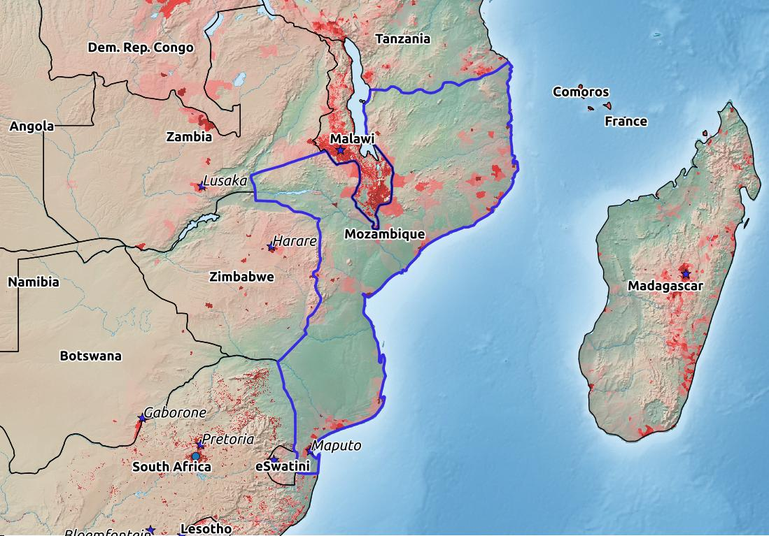 Map of Mozambique with world location, topography, capital city, and nearby major cities.