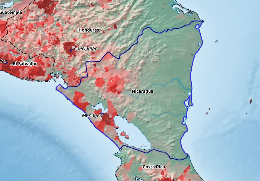 Map of Nicaragua with world location, topography, capital city, and nearby major cities.