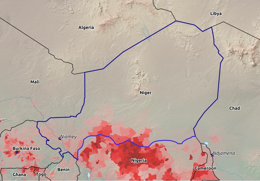 Map of Niger with world location, topography, capital city, and nearby major cities.