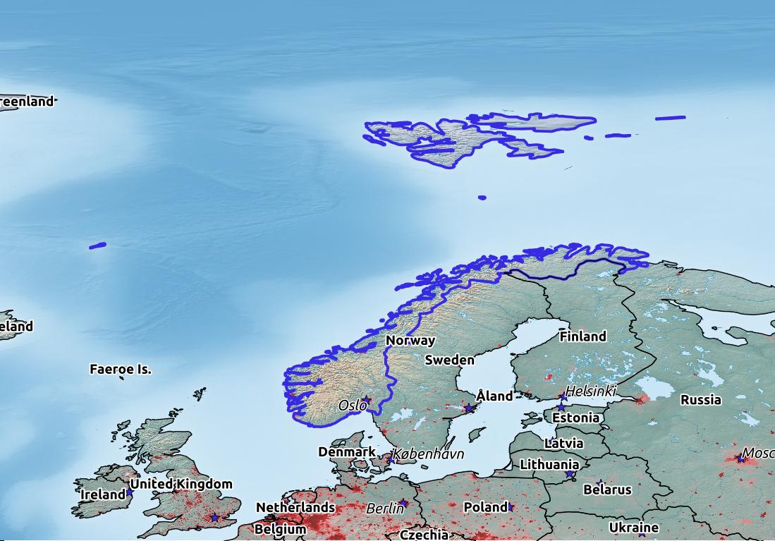 Map of Norway with world location, topography, capital city, and nearby major cities.