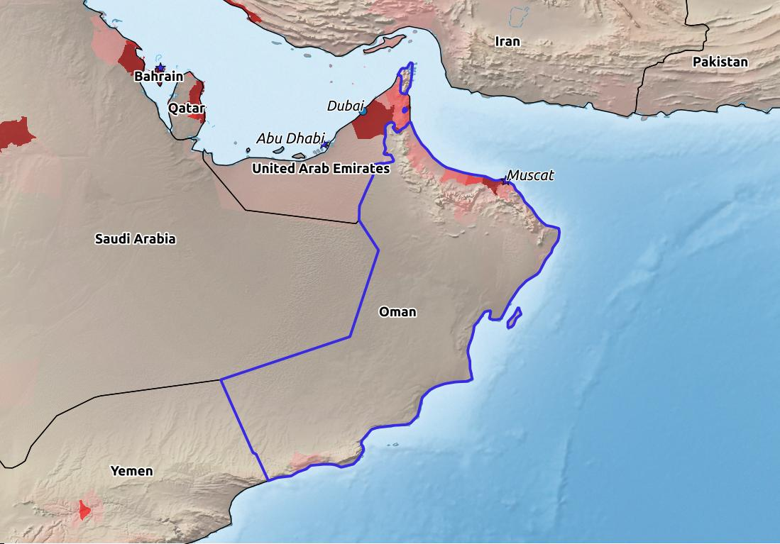 Map of Oman with world location, topography, capital city, and nearby major cities.