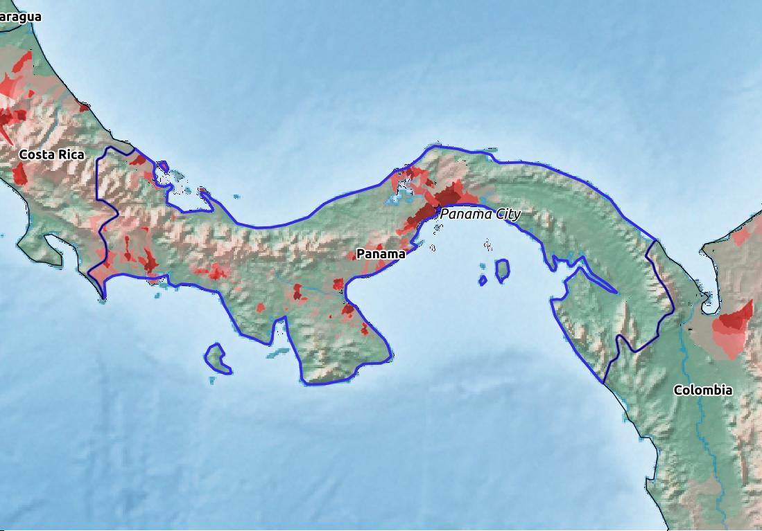 Map of Panama with world location, topography, capital city, and nearby major cities.