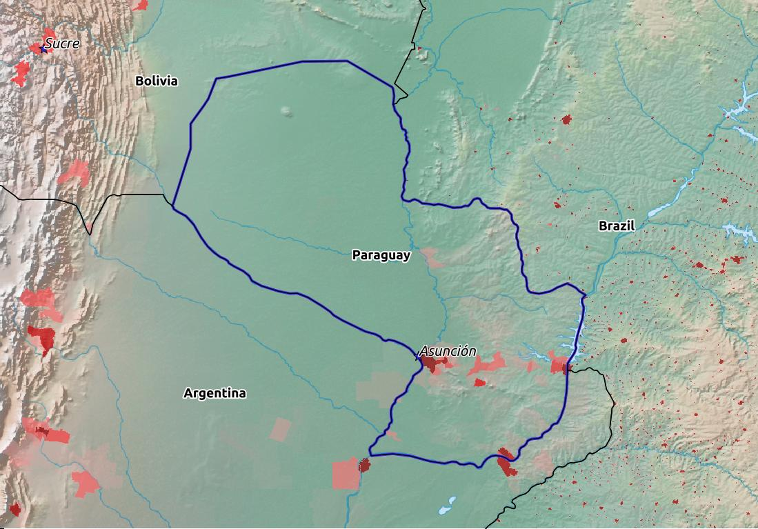 Map of Paraguay with world location, topography, capital city, and nearby major cities.