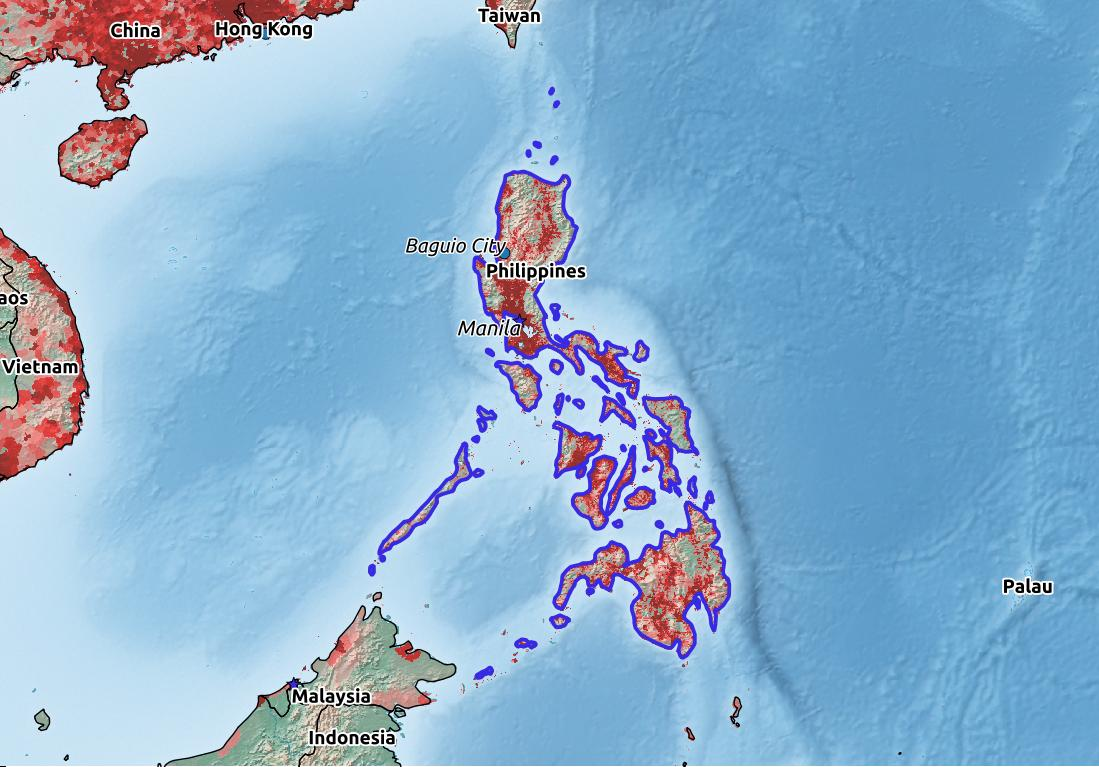 Map of Philippines with world location, topography, capital city, and nearby major cities.