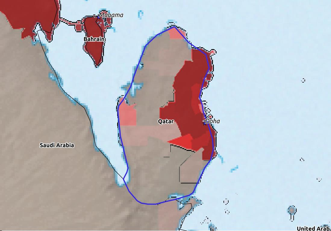 Map of Qatar with world location, topography, capital city, and nearby major cities.