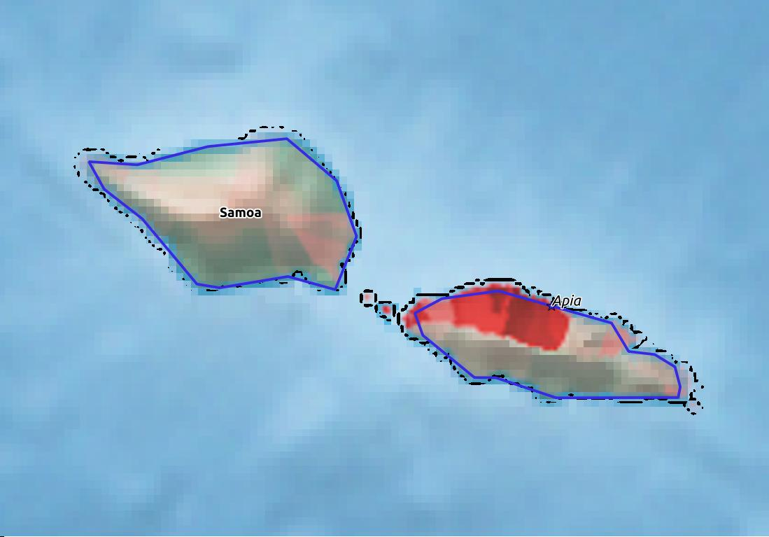 Map of Samoa with world location, topography, capital city, and nearby major cities.