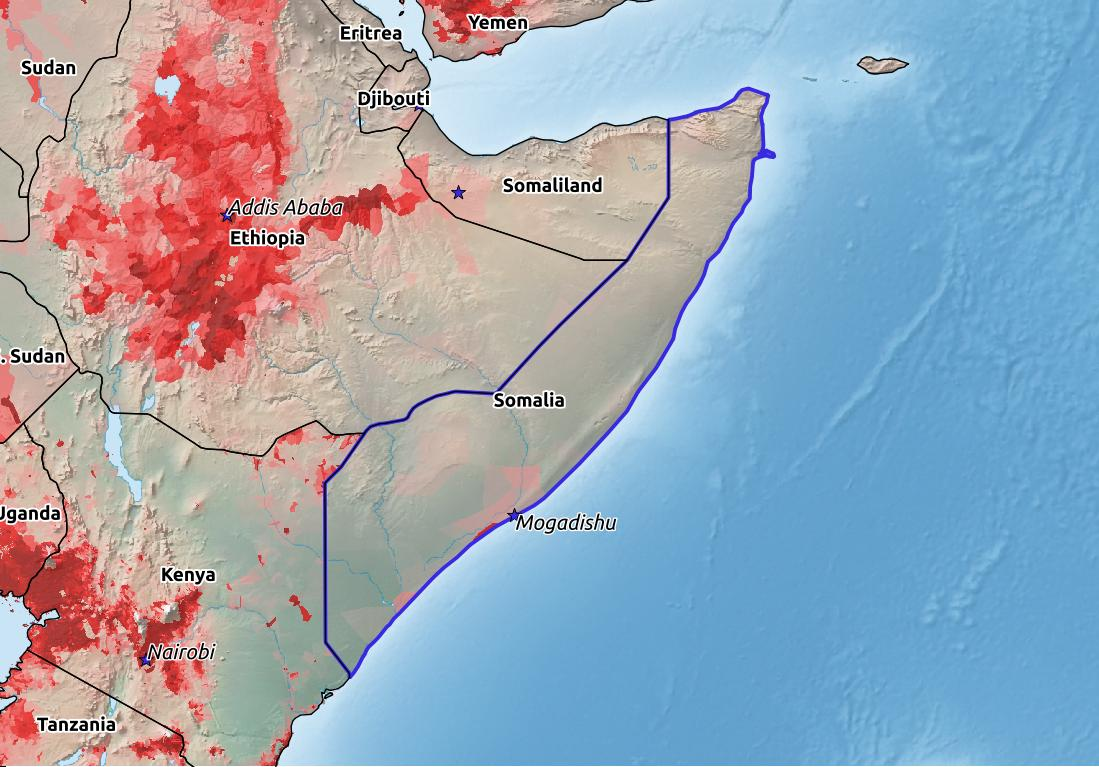 Map of Somalia with world location, topography, capital city, and nearby major cities.