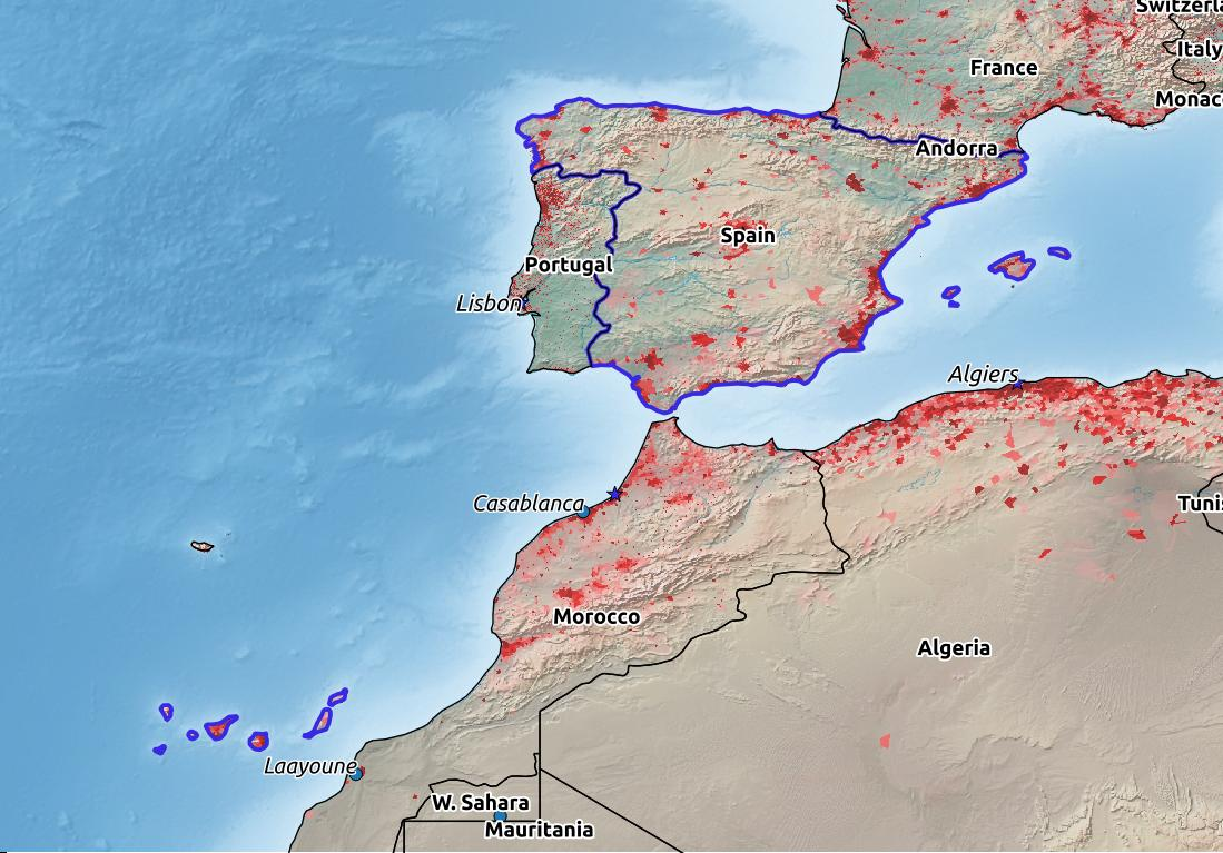 Map of Spain with world location, topography, capital city, and nearby major cities.