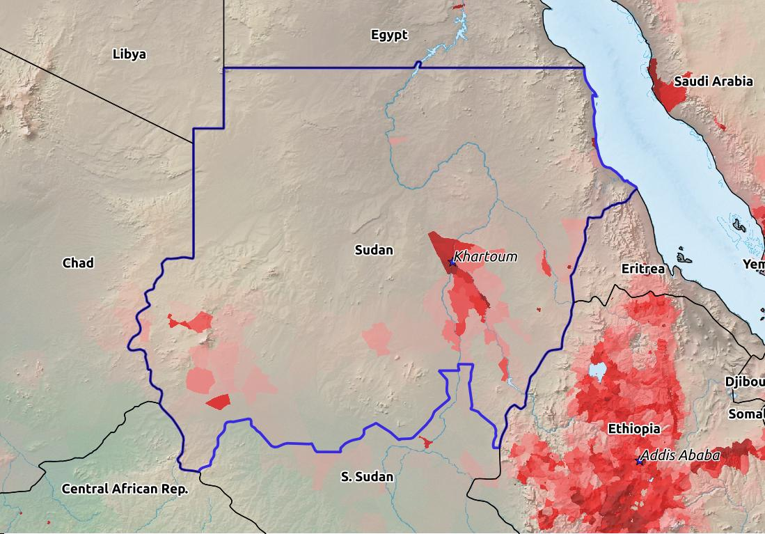 Map of Sudan with world location, topography, capital city, and nearby major cities.