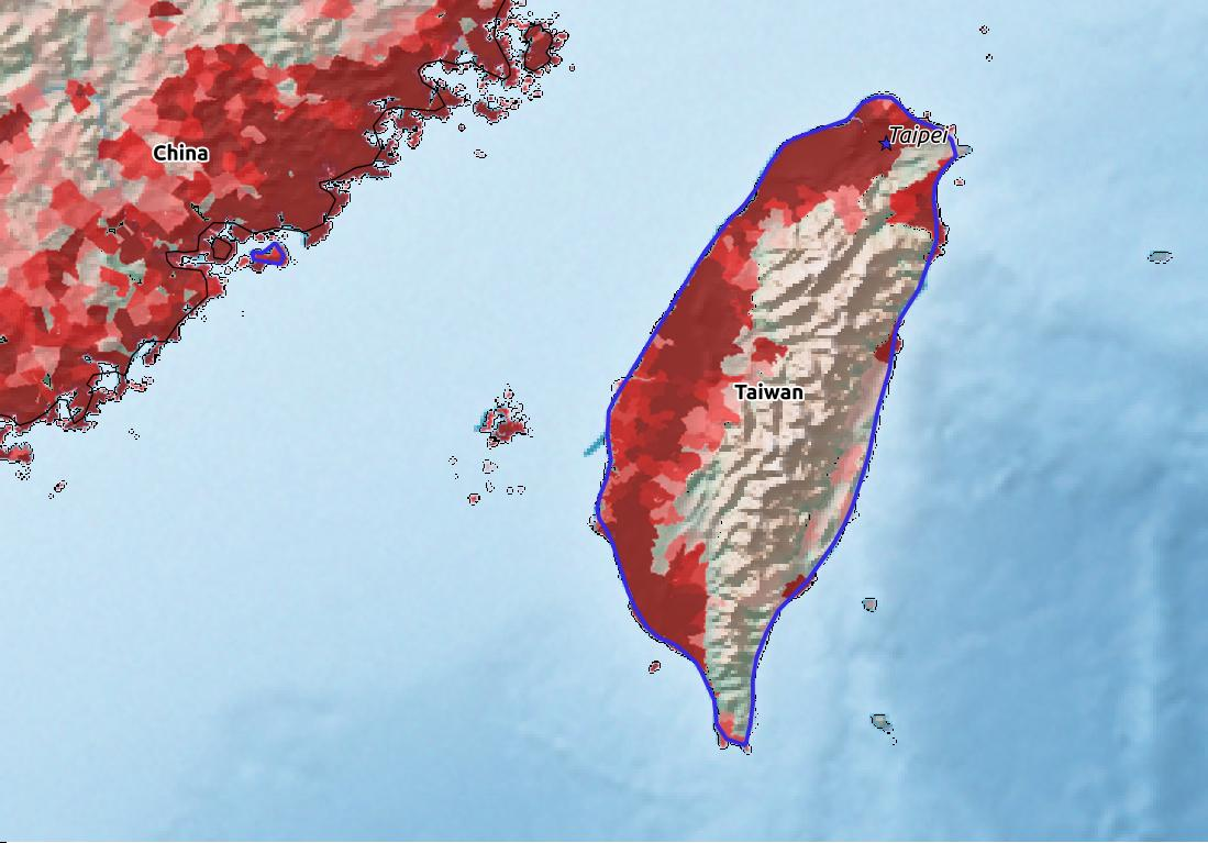 Map of Taiwan with world location, topography, capital city, and nearby major cities.