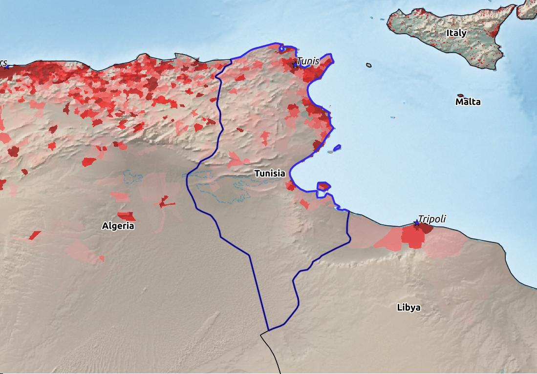 Map of Tunisia with world location, topography, capital city, and nearby major cities.