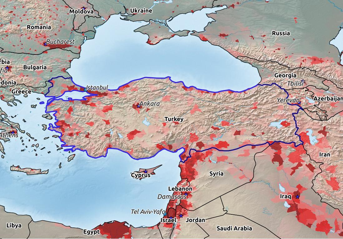 Map of Turkey with world location, topography, capital city, and nearby major cities.