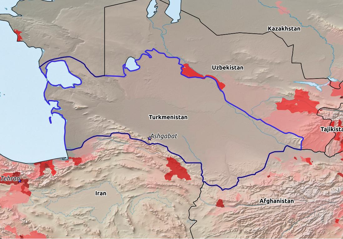 Map of Turkmenistan with world location, topography, capital city, and nearby major cities.