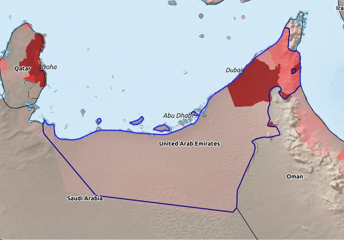 Map of United Arab Emirates with world location, topography, capital city, and nearby major cities.
