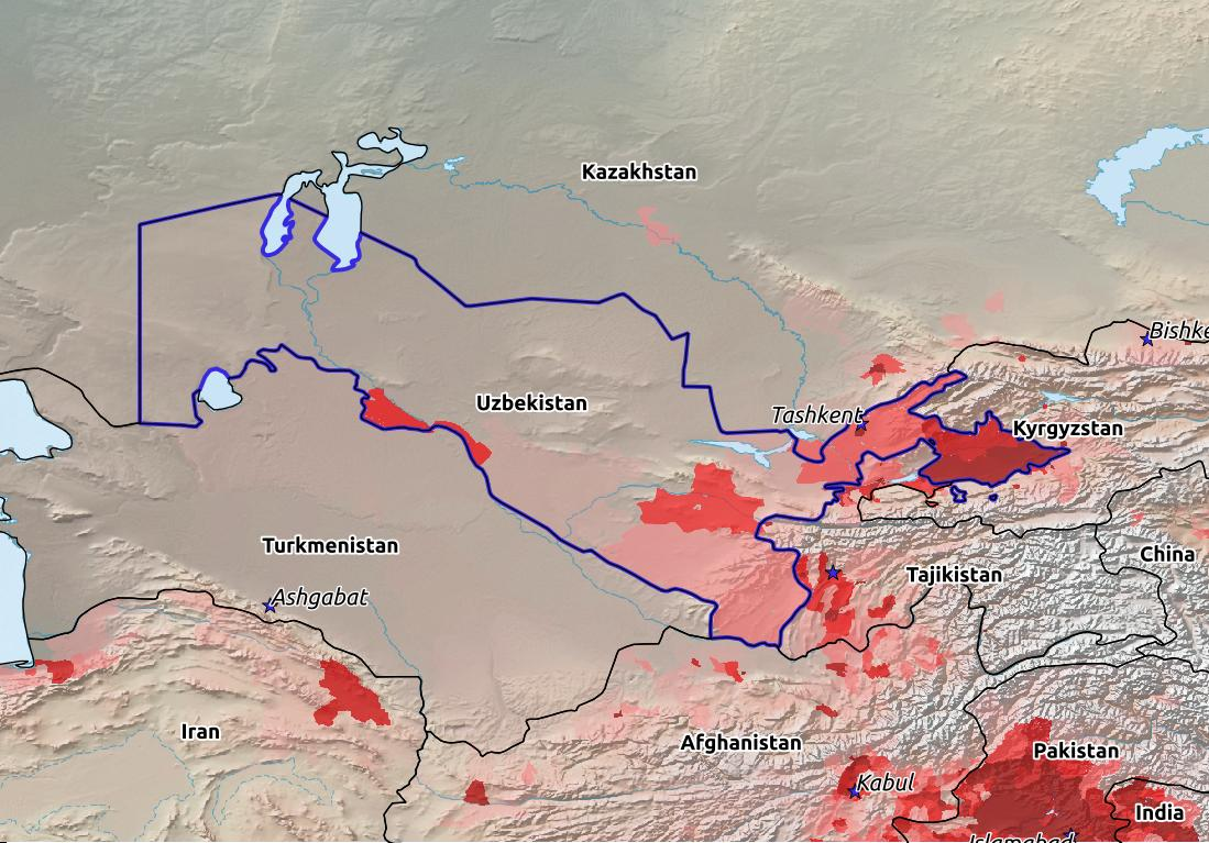 Map of Uzbekistan with world location, topography, capital city, and nearby major cities.