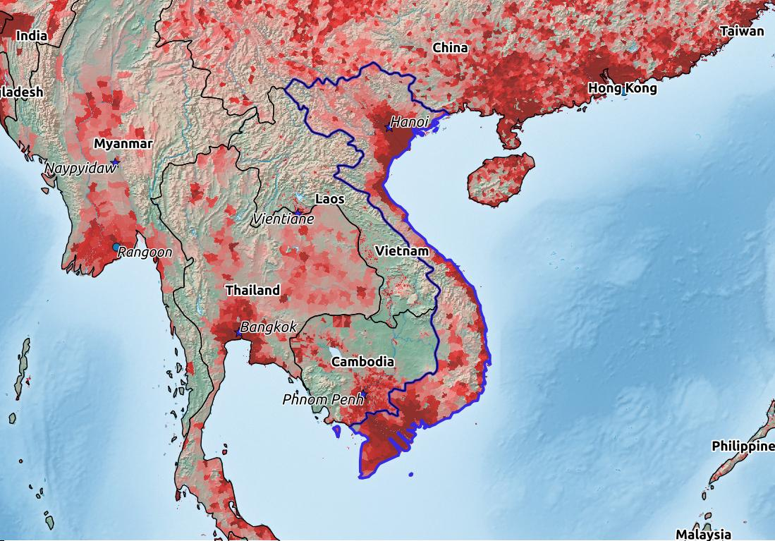 Map of Vietnam with world location, topography, capital city, and nearby major cities.