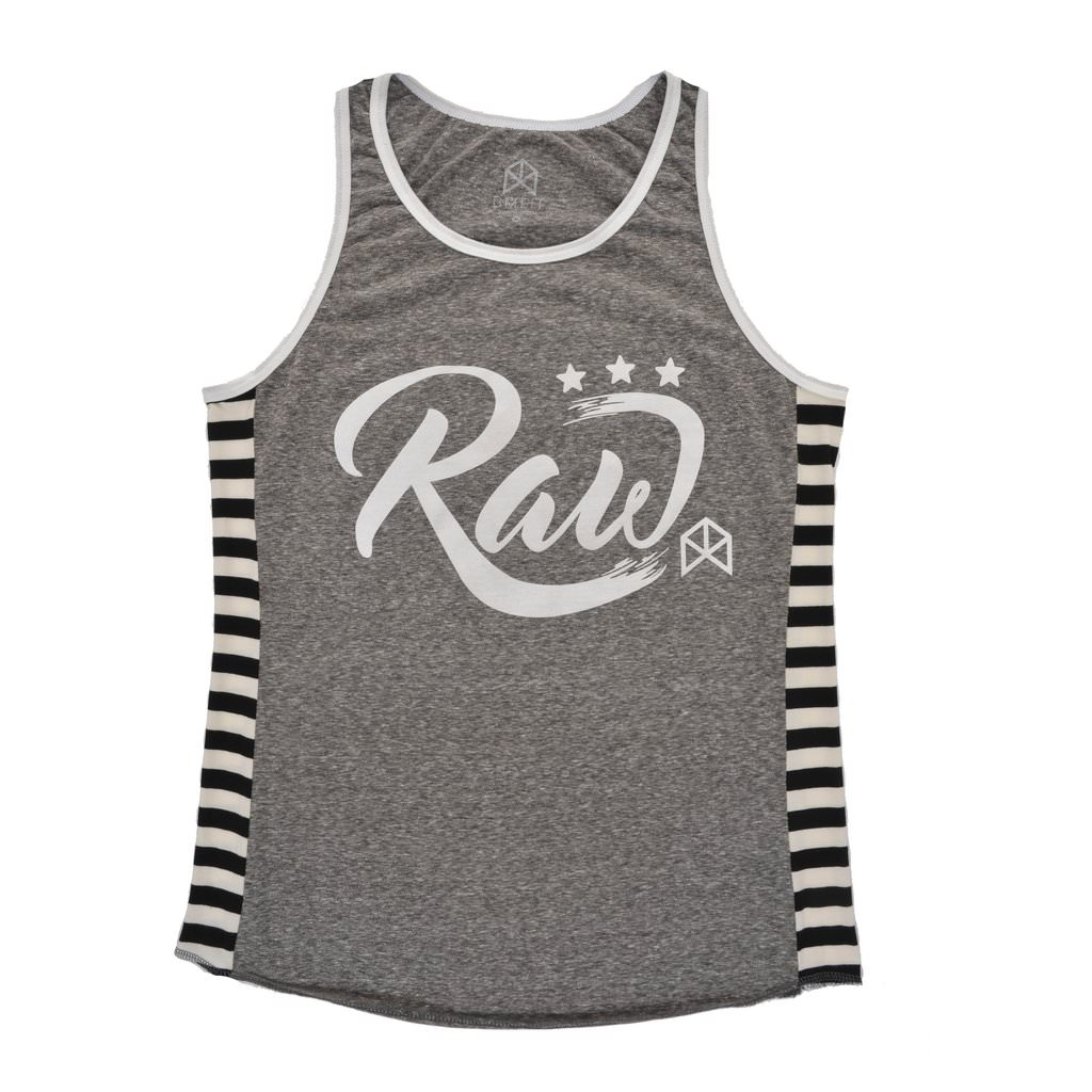 BMFIT Raw Stripped Tank Top - Gray
