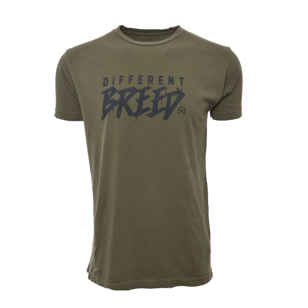 BMFIT Vintage Wash Short Sleeve Different Breed Tee - Olive