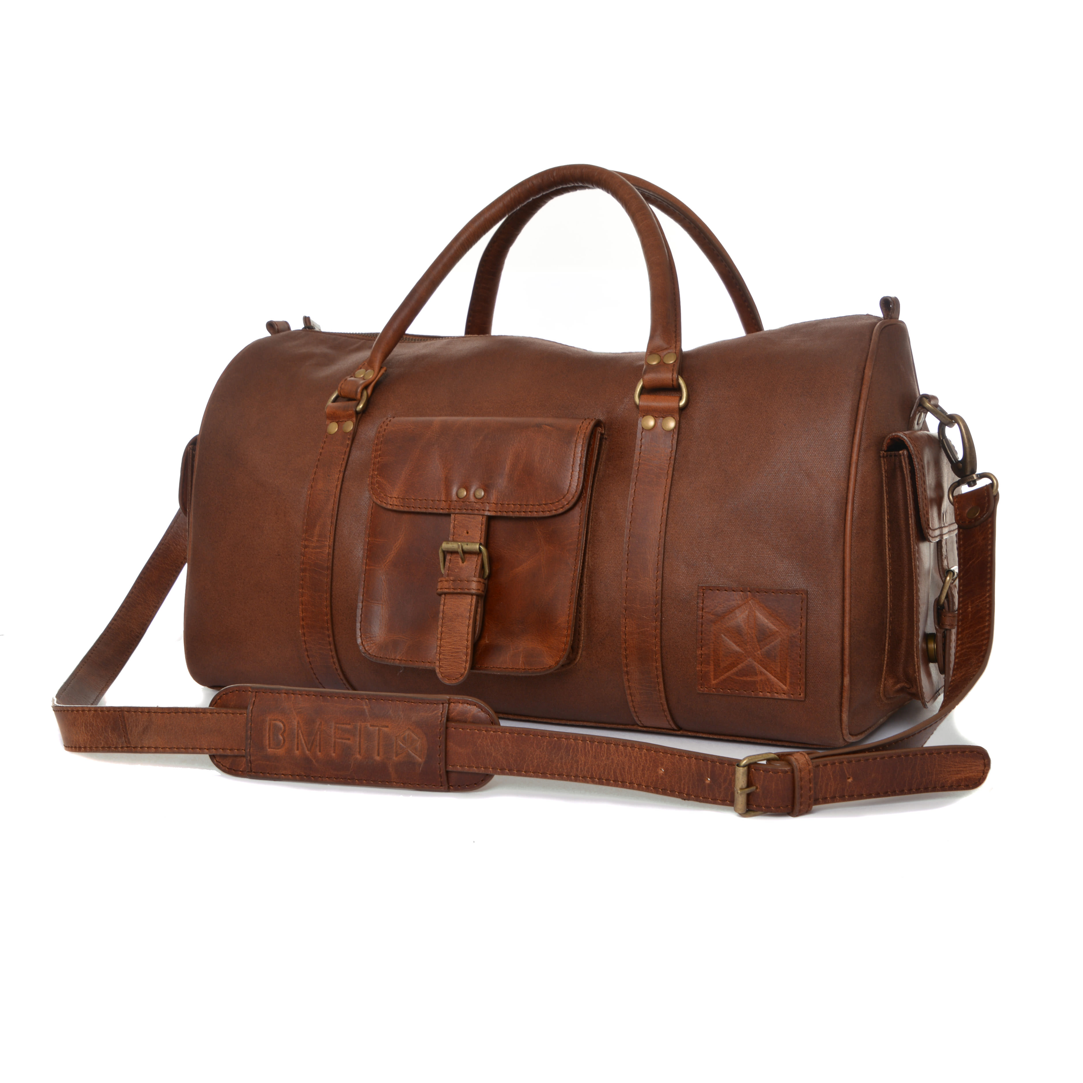 BMFIT Leather Wax Canvas Gym Duffle Bags - Brown