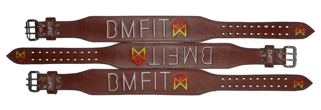 BMFIT 100% Genuine Leather Weightlifting Belts - Brown