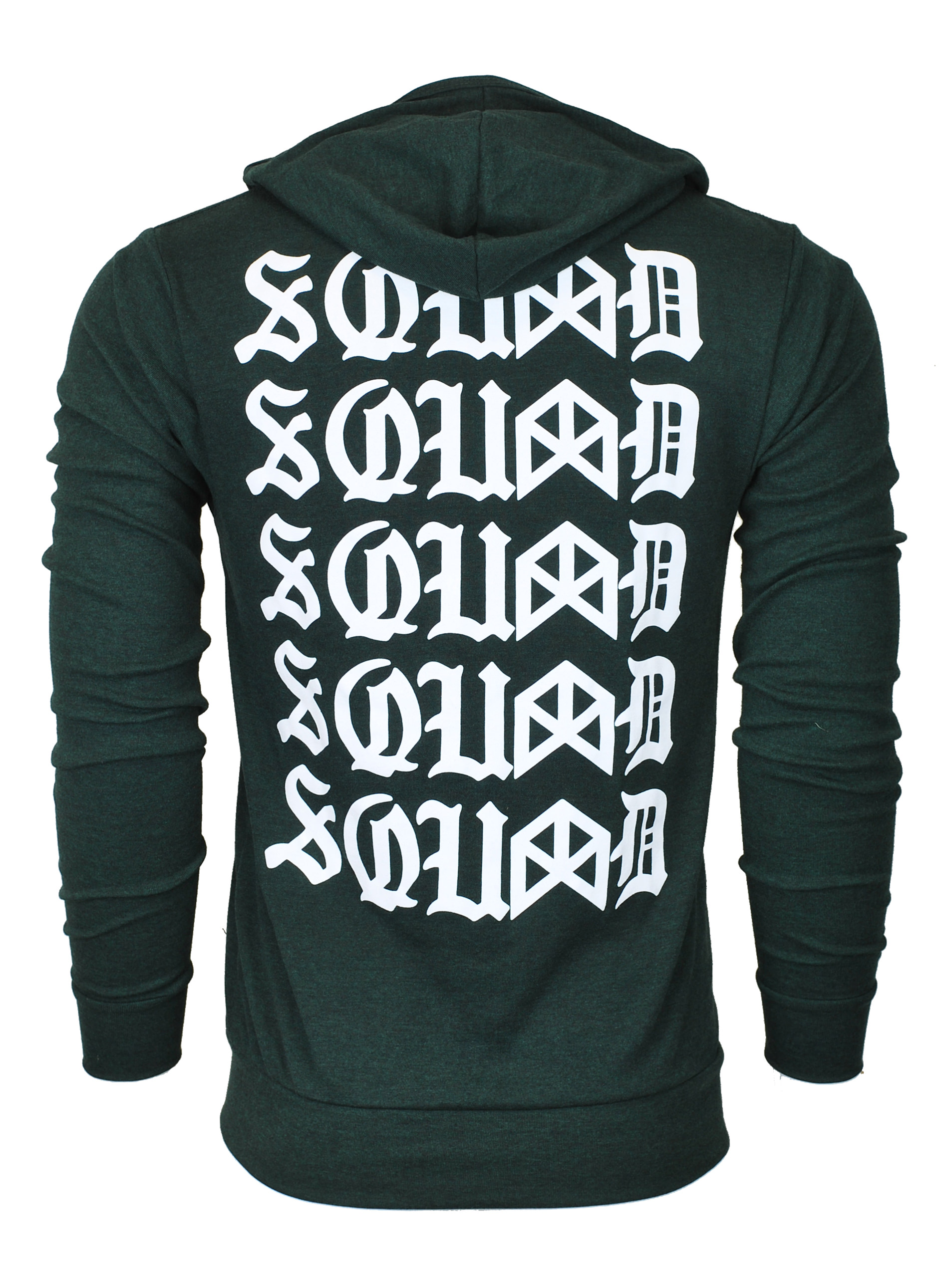 SQUAD Triblend Zip-Up Lightweight Hoodie - Emerald/White