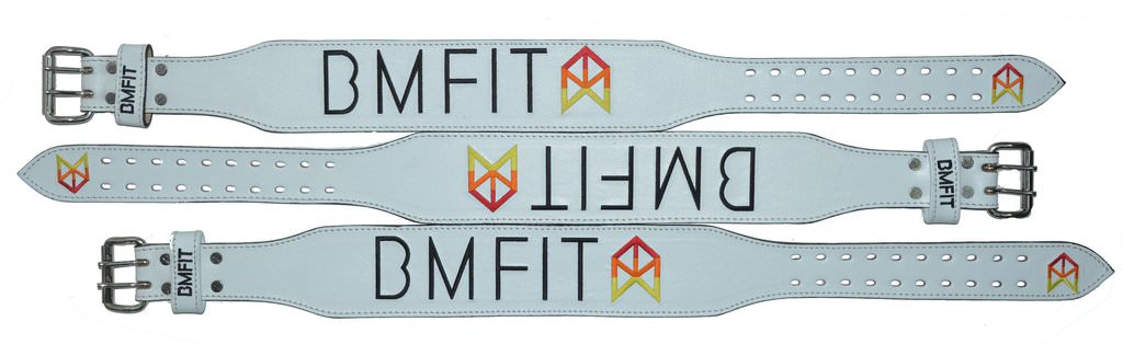 BMFIT 100% Genuine Leather Weightlifting Belts - White