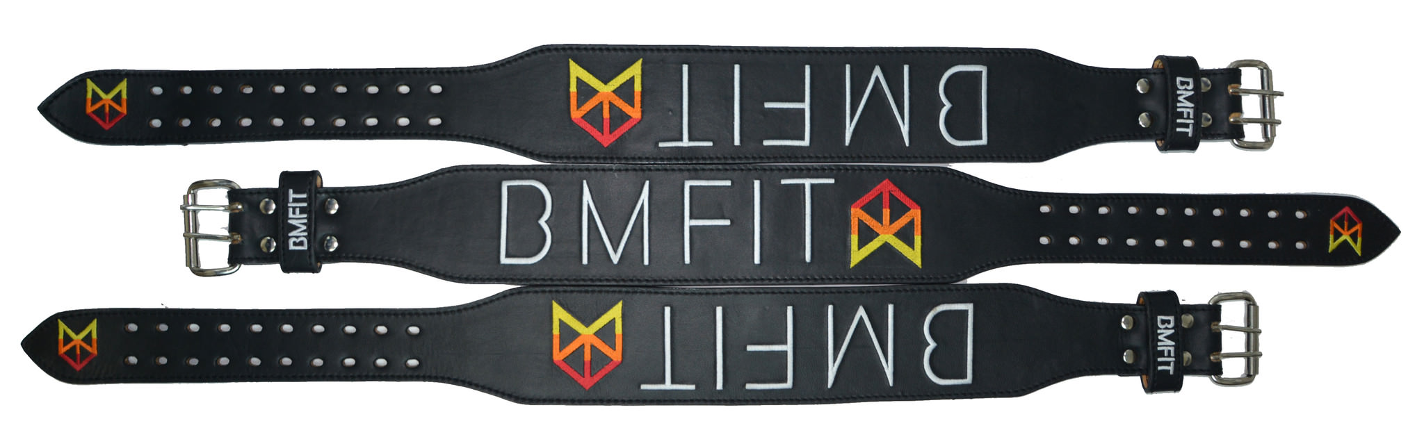 BMFIT 100% Genuine Leather Weightlifting Belts - Black