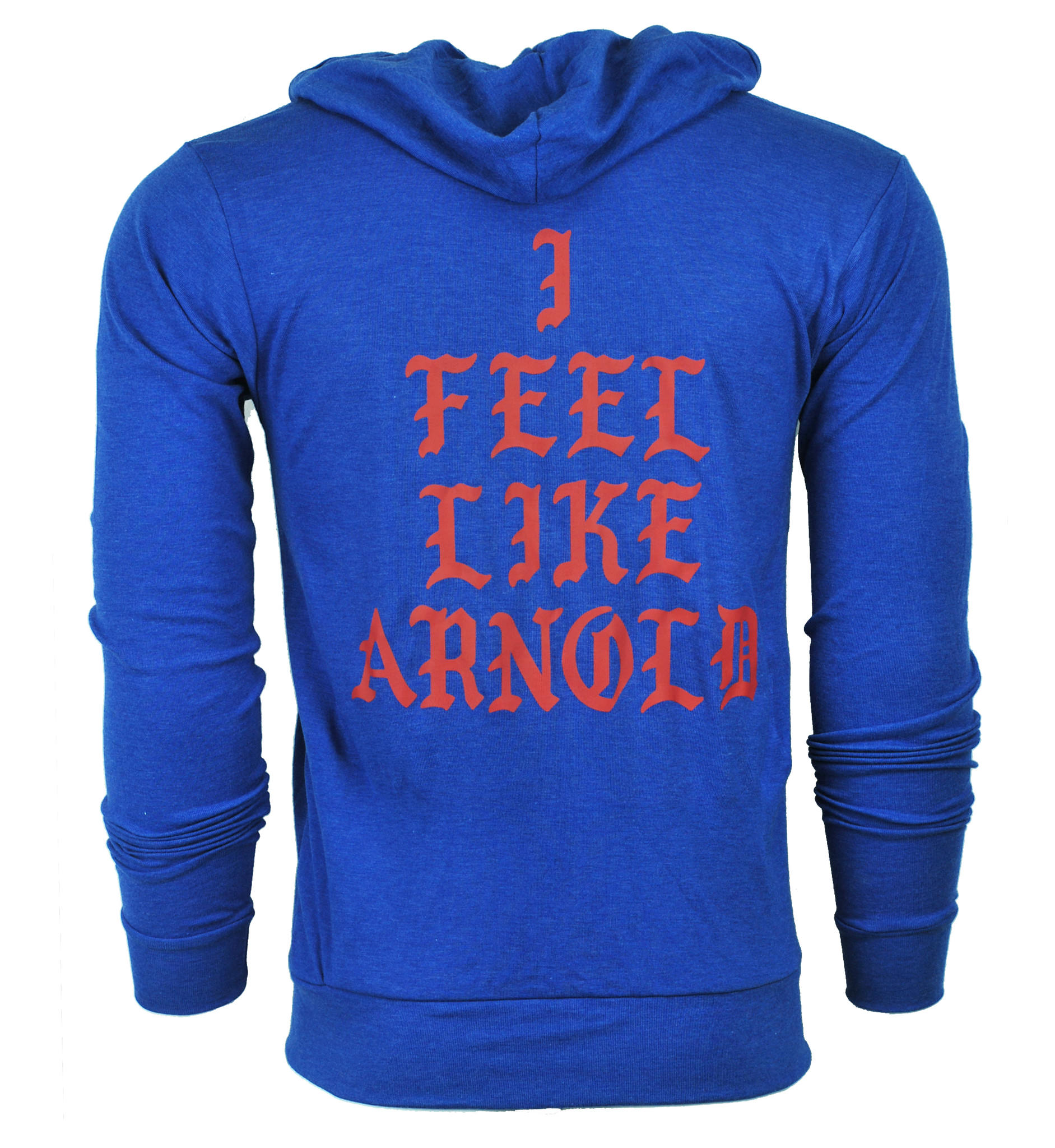 I Feel Like Arnold Triblend Zip-Up Lightweight Hoodie - Royal Blue