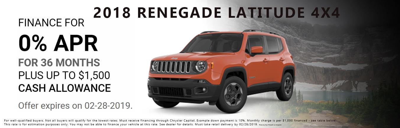 2018 Jeep Renegade Latitude 4x4 Incentive
