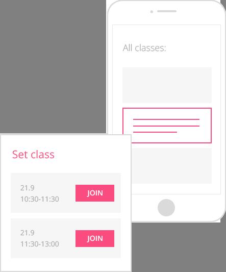 classes booking app