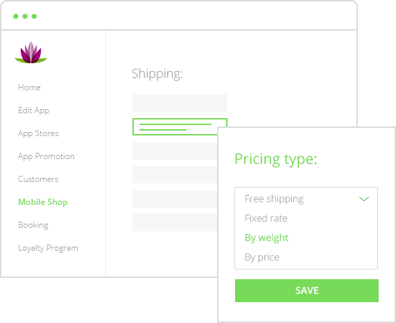 Ecommerce app – shipping feature