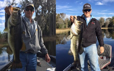 Father And Son Bass Fishing On Lake Santa Fe