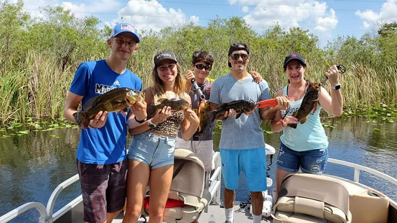 Everglades Pontoon Fishing Charter for Florida Bass and Exotics