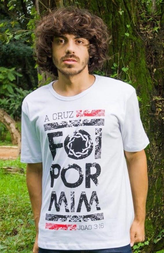Camiseta Básica -Branca A CRUZ FOI POR MIM