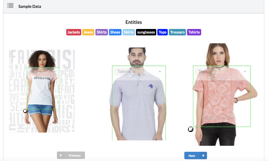 Automatic tagging of clothing in E-Commerce, Using