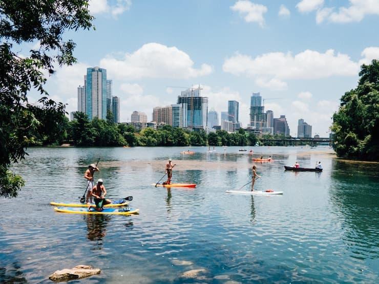 Paddleboarders on Lake Austin