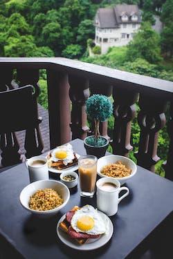 Breakfast on a balcony