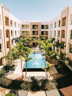 A hotel pool courtyard